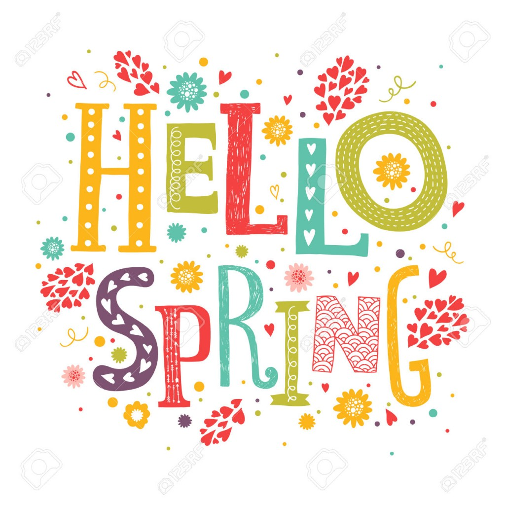 Vector lettering Hello spring with decorative flower element